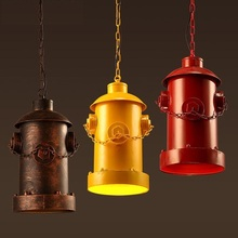 RH Loft Fire Hydrant Style Iron LED Pendant Light Fixtures American Industrial Vintage Lighting Bar Coffee Table Hanging Lamp