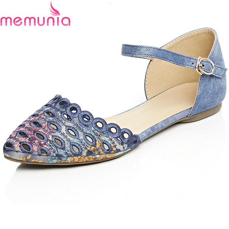 MEMUNIA big size 34-42 new arrive women flat shoes Openwork simple top quality fashion pointed toe single shoes<br>