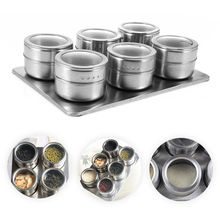 2017 New Useful 6pcs Stainless Steel Magnetic Seasoning Pot Cruet Condiments Spice Rack Pots Set For Spice Pepper Shakers Salt(China)