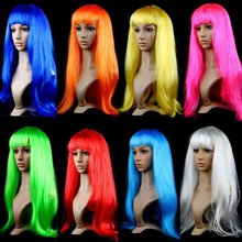 Hot Sale Anime Cosplay Multicolor Long Straight Curly Wigs For birthday Party Synthetic sets Halloween props annual meeting wig