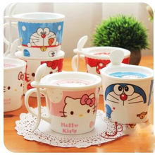 With Spoon Lid Cartoon Hello Kitty Doraemon Ceramic Coffee Milk Tea Mug Cup Best Christmas Gift For Girl(China)