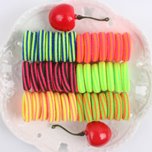 2017 New rainbow colors striped girl rubber band Elastic Hair Bands kids Ponytail hair accessories 50pcs/lot ZH021