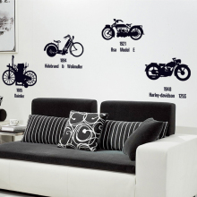 Vintage Personalized bike Wall Stickers Home Decor Art Wallpaper decoration Retro Removable PVC transparent film sticker(China)