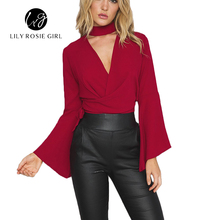 Choker Sexy Cross Deep V Neck Bow Sashes Red Women Blouse Autumn Style Casual Party Evening Tops Girl Shirt Elegant Blusas 2016