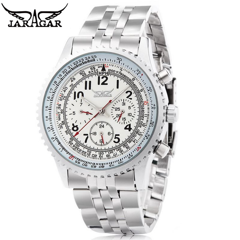 JARAGAR  Luxury Watch Steel Men Auto 6 Hands Mechanical Watches Mens Wristwatch  Gift Free Ship<br><br>Aliexpress
