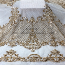 1 YARD Light gold beads fashion style super heavy beading lace fabric bride handmade beaded fabric(China)