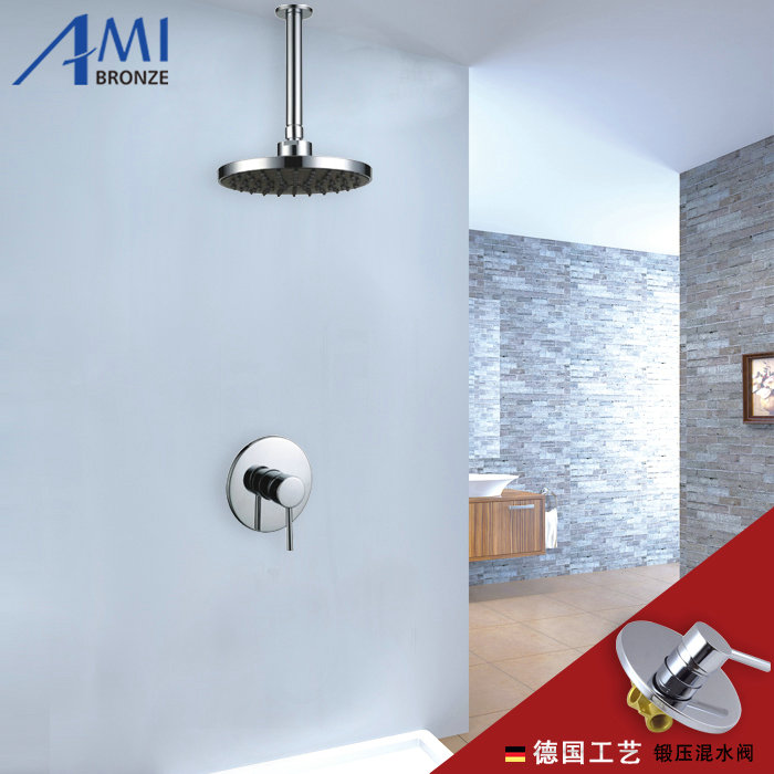 Chromed Brass 1-way Shower Set Wall Mounted Concealed Shower Sets  8 Plastic Shower Head<br><br>Aliexpress