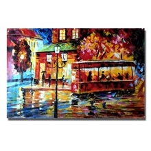 Beautiful  Modern Art  Hand Painted Oil Painting on Canvas  Living Room Wall Pictures Bus Landscape Knife Painting  No Framed
