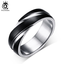 ORSA JEWELS 2017 New Fashion Daily Wear Rings Top Quality Lead & Nickel Free Black Color Stainless Steel Men Party Rings OTR60(China)