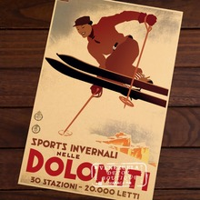 Ski in Dolomiti Skiing Vintage Retro Decorative Poster DIY Wall Home Bar Posters Home Decor Gift