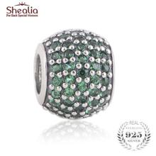 SHEALIA Green Pave Lights Charm 925 Sterling Silver High Quality CZ Pave Ball European Beads For Jewelry Making Diy Accessories