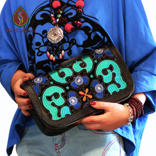 Newest Original Embroidery Day Clutches black genuine leather women bags Custom designer Ethnic messenger bags(China)