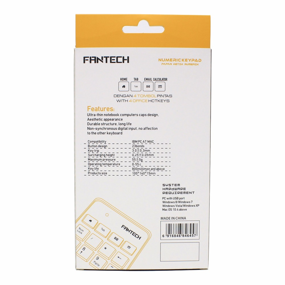 FANTECH New Mini 23-Keys USB Number Pad Keypad Numeric Keyboard For Laptop Notebook Eletronic FTK-801 Key Board Accessories (16)