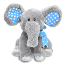 Blue Plush Animated Singing Plush Toy Flappy The Elephant Baby Plush Toy Kid Doll Gifts Good Toys Gift For Children Drop Ship(China)