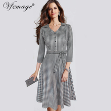 Vfemage Women Elegant Vintage 3/4 Sleeve Autumn Winter Tartan Print Bow Button Casual Work Office Party Skater A-line Dress 8007(China)