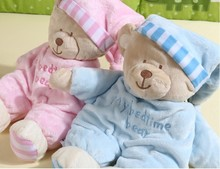2017 New High Quality 30cm Pink Blue Bear Soft Plush Toy Sleep Bear Baby Placate Toy Gifts for Girls Children's Christmas Gifts
