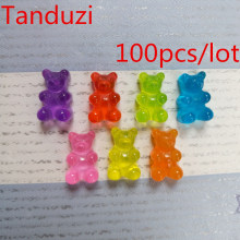 Tanduzi 100pcs Flatback Resin Cabochons Simulation Food Cute Bear Shaped QQ Gummy Candy DIY Dollhouse Miniature Deco Parts