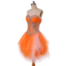 Best Selling Beaded Sheer Orange Graduation Dresses Formal girls party gown cheap short prom dress