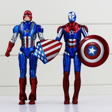 2Pcs/lot Marvel Superheroes Captain America Figure Toy Superman PVC Action Doll Figures Avengers 18cm
