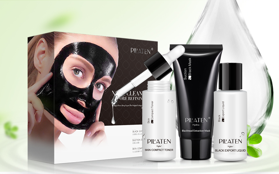 1 pc PIL'ATEN Blackhead Remover 3 Pieces Suite Pilaten official store Acne black mask charcoal sea mud face mask free shipping(China)