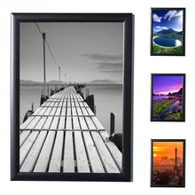 Black Simulation Wood Photo Frame A4 Picture Complete Frame with Glass Hardboard Back Table Decoration For Living Drawing Room(China)
