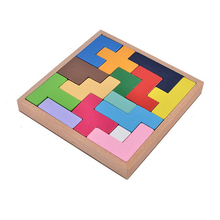 Wooden Tetris Game Jigsaw Puzzle Toys for Kids Wood Tangram Brain Teaser Puzzles Creative Educational Toys for Children(China)