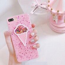 Для iphone x 7 7 Plus 3D Розовый Мороженое Блёстки ТПУ чехол для iPhone 6 6S 6 плюс 8 8 плюс с сияющими блестками задняя крышка стиль для девочек(China)