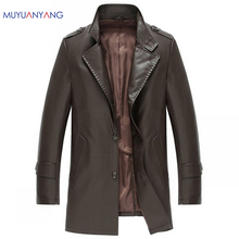 Casual PU Leather Fur Clothing Mens Long Leather Jacket And Coat XXL XXXL Black & Brown Single Breasted Man Spring Leather Coats(China)