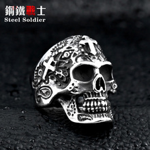 Buy Steel soldier cross skull stainless ring punk men retro jewelry new style factory price skull ring men for $3.09 in AliExpress store