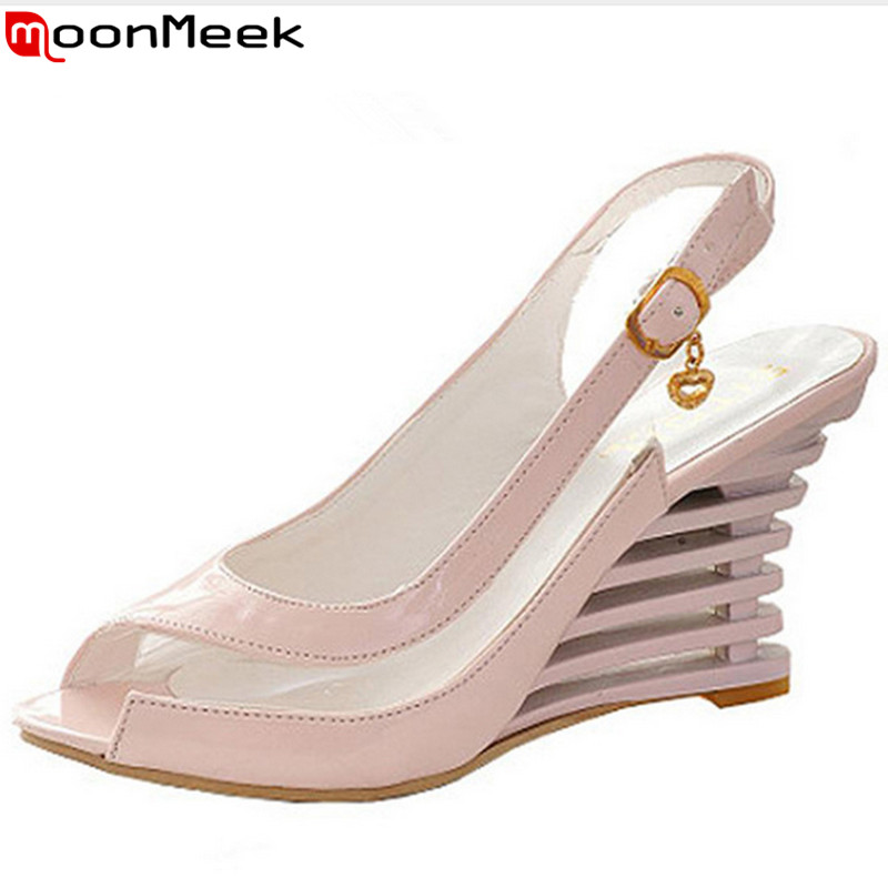 High Wedge Heel Sandals 2017 Buckle Style Open Toe Transparent Shoes Womens Summer Shoes Patent PU Sexy Summer Brand New Shoes<br><br>Aliexpress