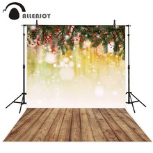Allenjoy christmas photography backdrops Wooden board pine branches ribbons dots Backgrounds for photographing for newborn(China)