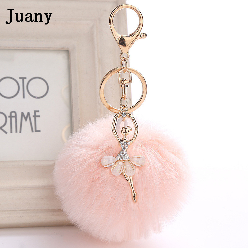 rabbit fur pompom key chain fake rabbit car keychain fur ball keychain pompom girl women charm bag  10