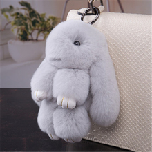 100% Real rabbit Fur Rabbit Pom Pom Keychain For Bag Charm Tag Cute Charm  Rabbit Toy Doll Real Fur Keychain