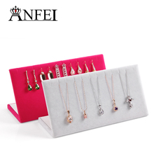 ANFEI High-Quality Classical Gray Velvet Necklace Display Rack Cardbord Pendant Long Chain Jewelry Display Stand