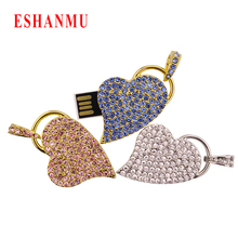2016 New Real Capacity Diamond Crystal Love Heart 8GB 16GB 32GB Pen Drive Pendrive USB Flash Drive For PC Luxurious USB Hot gift(China)