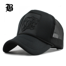 [FLB] 2017 Hip Hop Black leopard Print Curved Baseball Caps Summer Mesh Snapback Hats For Women Men casquette Trucker Cap(China)