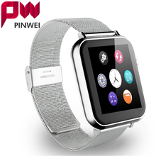 PINWEI Bluetooth Smart Watch Wrist Ultra Thin Smartwatch Men Wristwatch Wearable Device Metal Strap for Apple IOS Android Phone