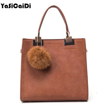 YASICAIDI Women Casual Tote Bag Suede Leather Shoulder Messenger Bag high quality PU Leather Handbag With Fur Ball Women Handbag(China)