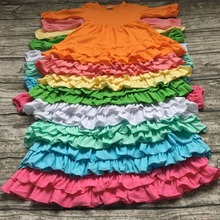 girls Winter and Fall dress kids dress baby girls boutique dress solid cotton clothes girls rainbow color dress