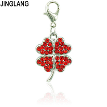 JINGLANG High Quality Fashion Pendants 4 Color Rhinestone Lobster Clasp Leaf Clover Charms DIY Necklace Jewelry Accessories
