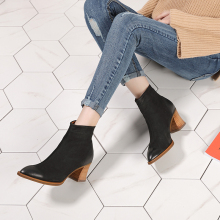 2018 Autumn Winter 첨 Toe Shoes Women Ankle Boots 제 Block 힐 Genuine Leather 눈 Boots 숙 녀 Warm Boots(China)
