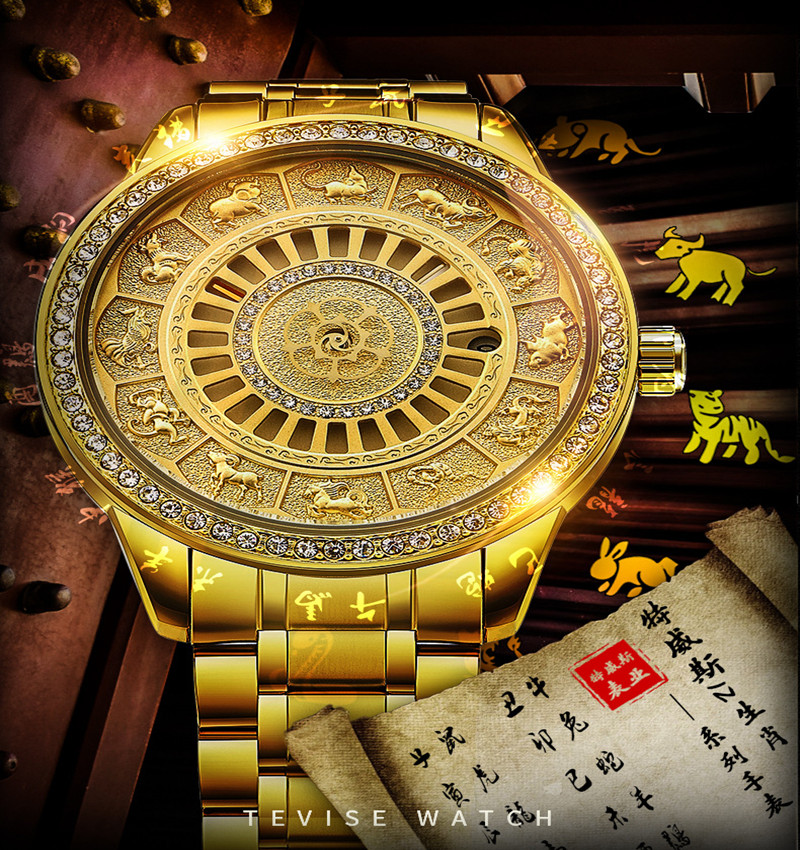 02018 New TEVISE Zodiac Signs Men Watch Automatic Mechanical Wristwatches Limited Edition Watch Men Gold Male Clock saat erkekler (1)