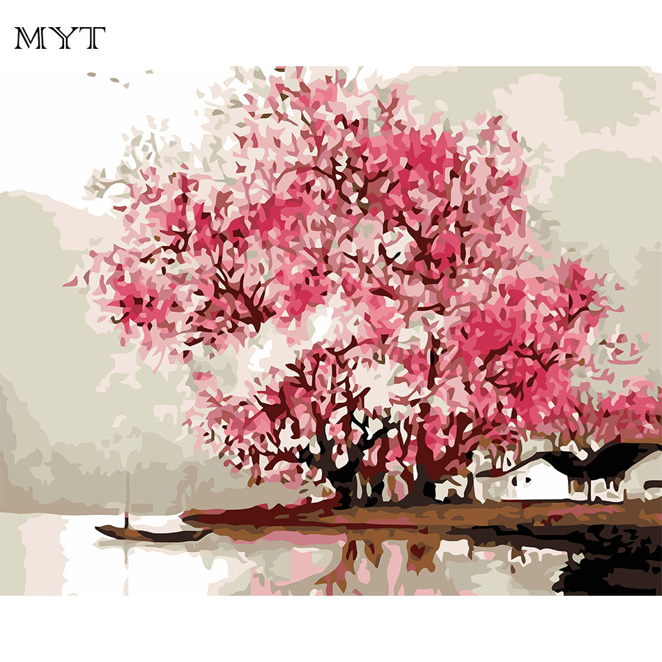 Cherry Tree Decorative Pictures Home Decor Pictures Suppliers Flower DIY Painting By Numbers Hand Painted Oil On Canvas(China (Mainland))