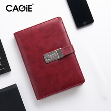 CAGIE Vintage A5 Lock Notebook Faux Leather Office Planner Agenda Organizer Filofax Travel Diary With Lock Business Notebooks(China)