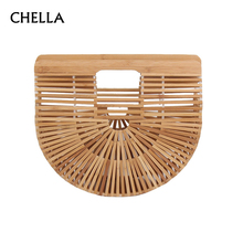 Woman Summer Beach Bag Fashion Bamboo Weave Handbag Luxury Designer Female Tote Lady Fresh Straw Bags Shopping Bolso SS0274