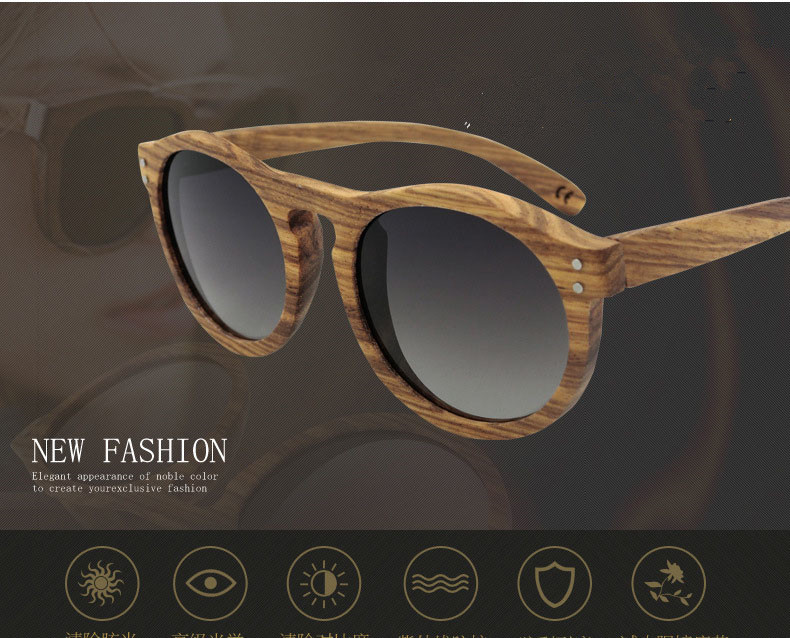 Hot Sale Classic Men and Women Vintage Round Polarizing  Wooden Sunglasses Personality Unisex Color Film Coating<br><br>Aliexpress