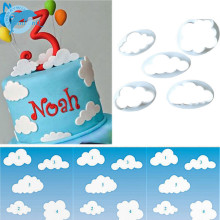 LINSBAYWU 5PC Cloud Plastic Fondant Cookie Cutter Cake Mold Moulds Cake Decorating Tool TP