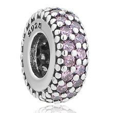 free shipping  SILVER plat bead charm with pink white green rose red CZ Fit European Pandora bead Charm Bracelet A124(2)