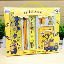 7 pcs/set cartoon minion stationery set novelty kawaii students school supplies children back to school study high quality