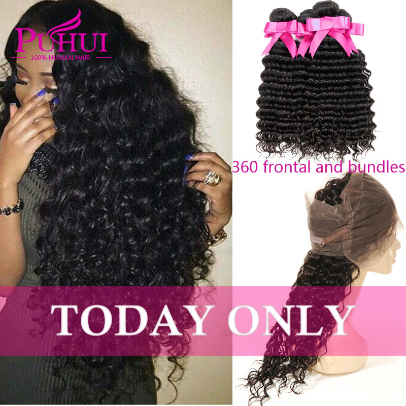 360 lace frontal with bundle Brazilian deep wave with closure Human hair with closure deep wave lace frontal 360 curly hair <br><br>Aliexpress